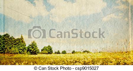 Stock Illustrations of oak copse on grunge background.