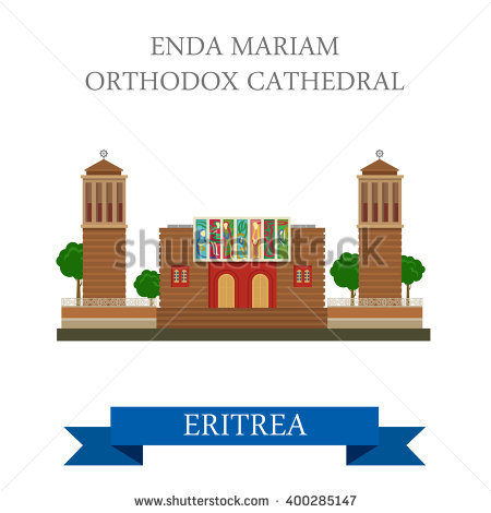 Enda Mariam Coptic Orthodox Cathedral In Eritrea. Flat Cartoon.