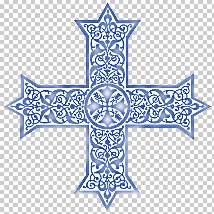 Symmetry Line Point Pattern, Coptic Cross PNG clipart.