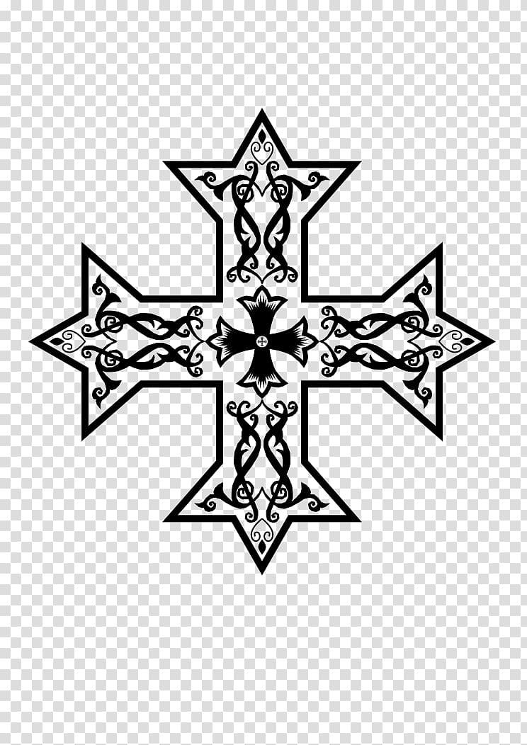 Coptic cross Christian cross variants Copts, monochrome.