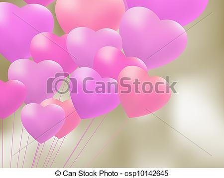 EPS Vector of Red gel balloons in the shape of a heart. EPS 8.
