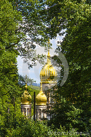 Famous Russian Orthodox Church With Golden Copula Stock Photo.