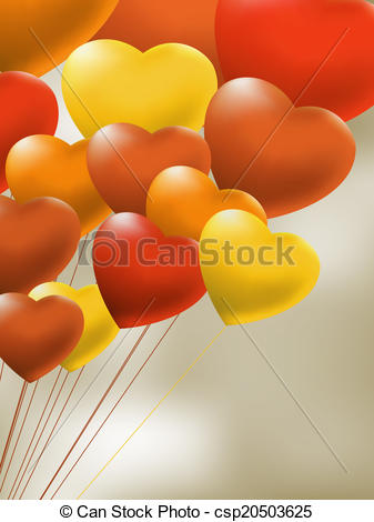 Vector Illustration of Copula of red gel balloons of a heart. EPS.