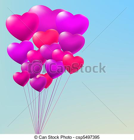 Clipart Vector of Copula of red gel balloons. EPS 8.