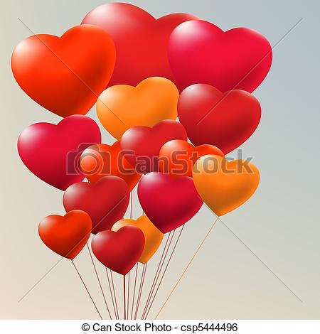 Clip Art Vector of Copula of red gel balloons. EPS 8.