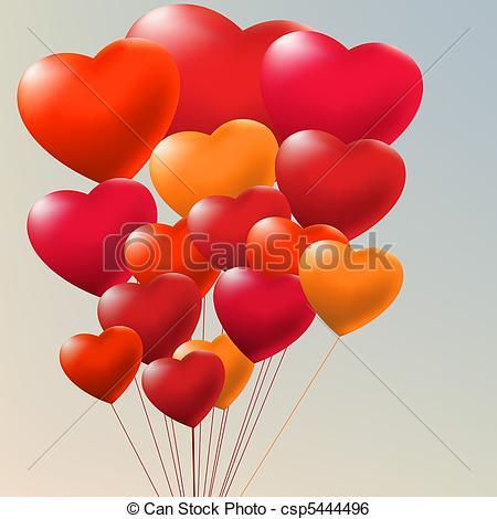 Clip Art Vector of Copula of red gel balloons. EPS 8.