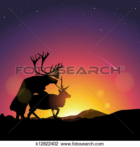 Clipart of Silhouette of deers copulate k12822402.
