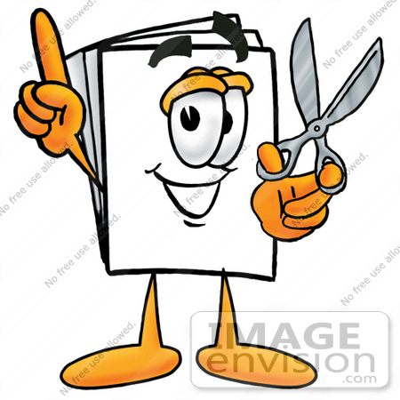 Clip Art Graphic of a White Copy and Print Paper Cartoon Character.