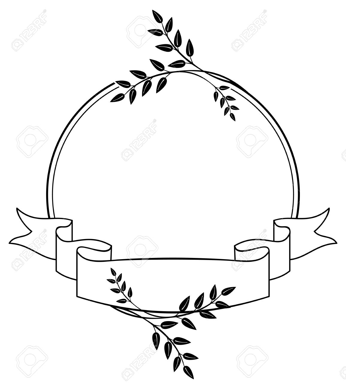Black And White Round Frame With Floral Silhouettes. Copy Space.