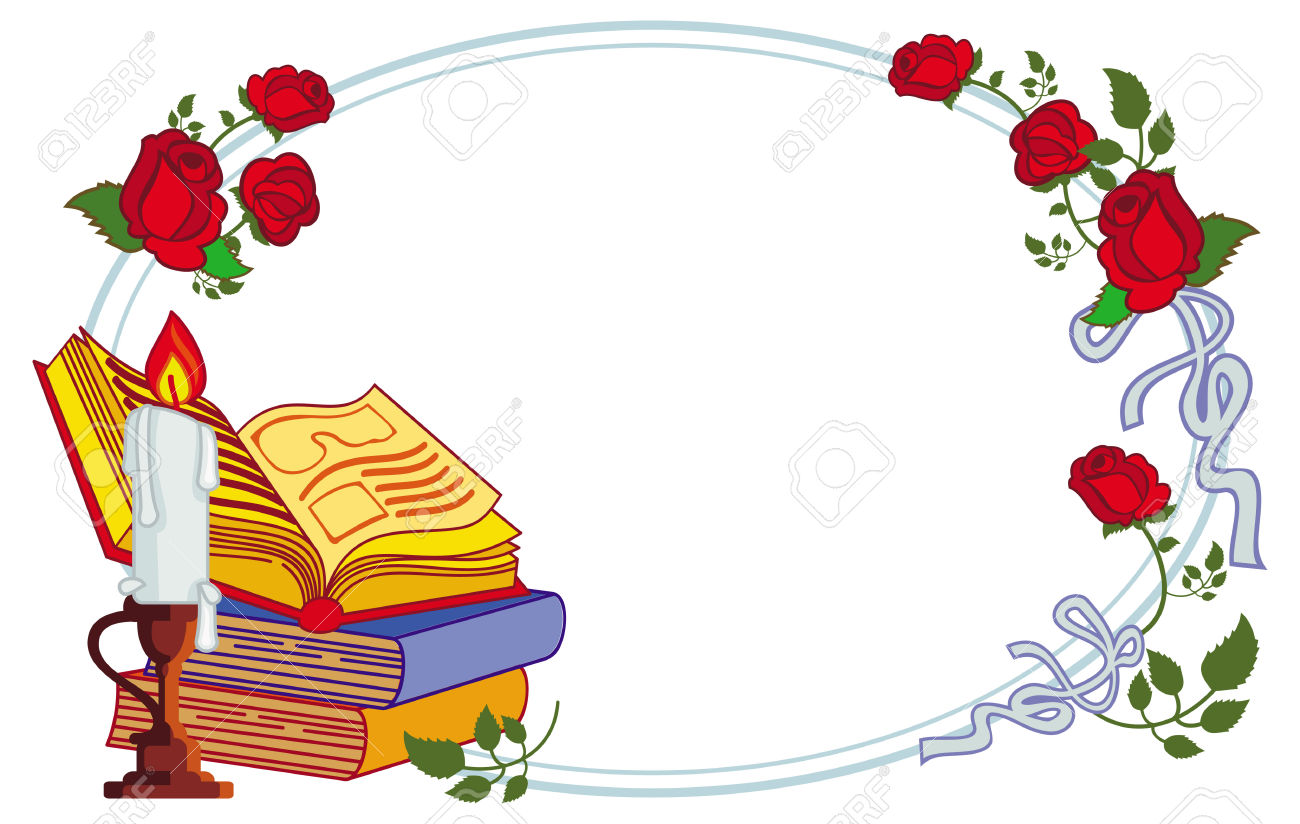 Color Frame With Red Roses, Books And Lighted Candle. Copy Space.