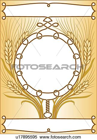 Clipart of Copy space wheat frame with banners and ribbons.