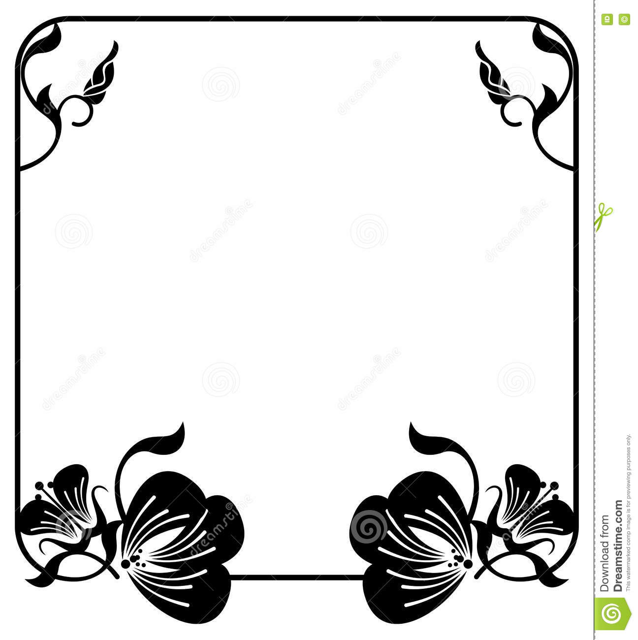 Square Silhouette Flower Frame. Copy Space. Vector Clip Art. Stock.