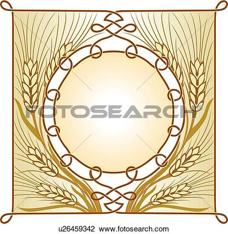 Clipart of Copy space wheat frame u26459342.