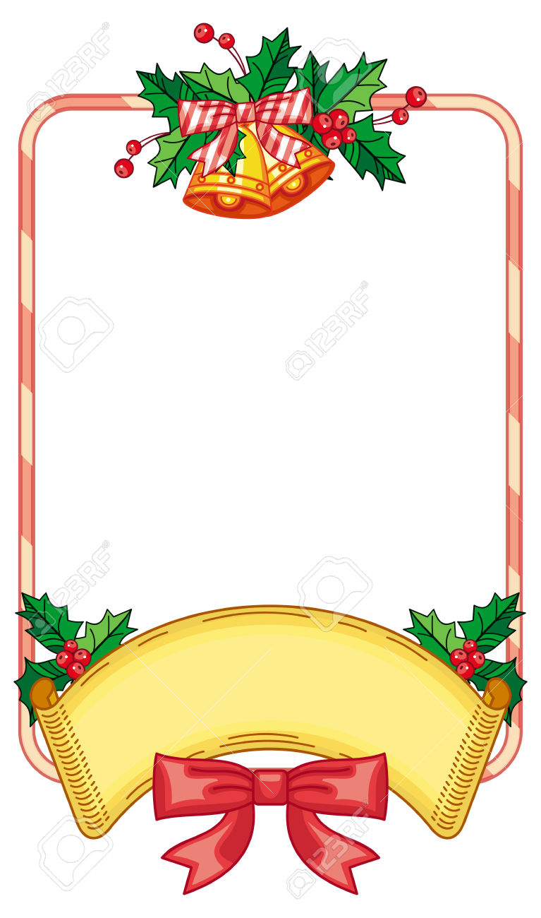 Vertical Frame With Holly Berry And Jingle Bells. Copy Space.