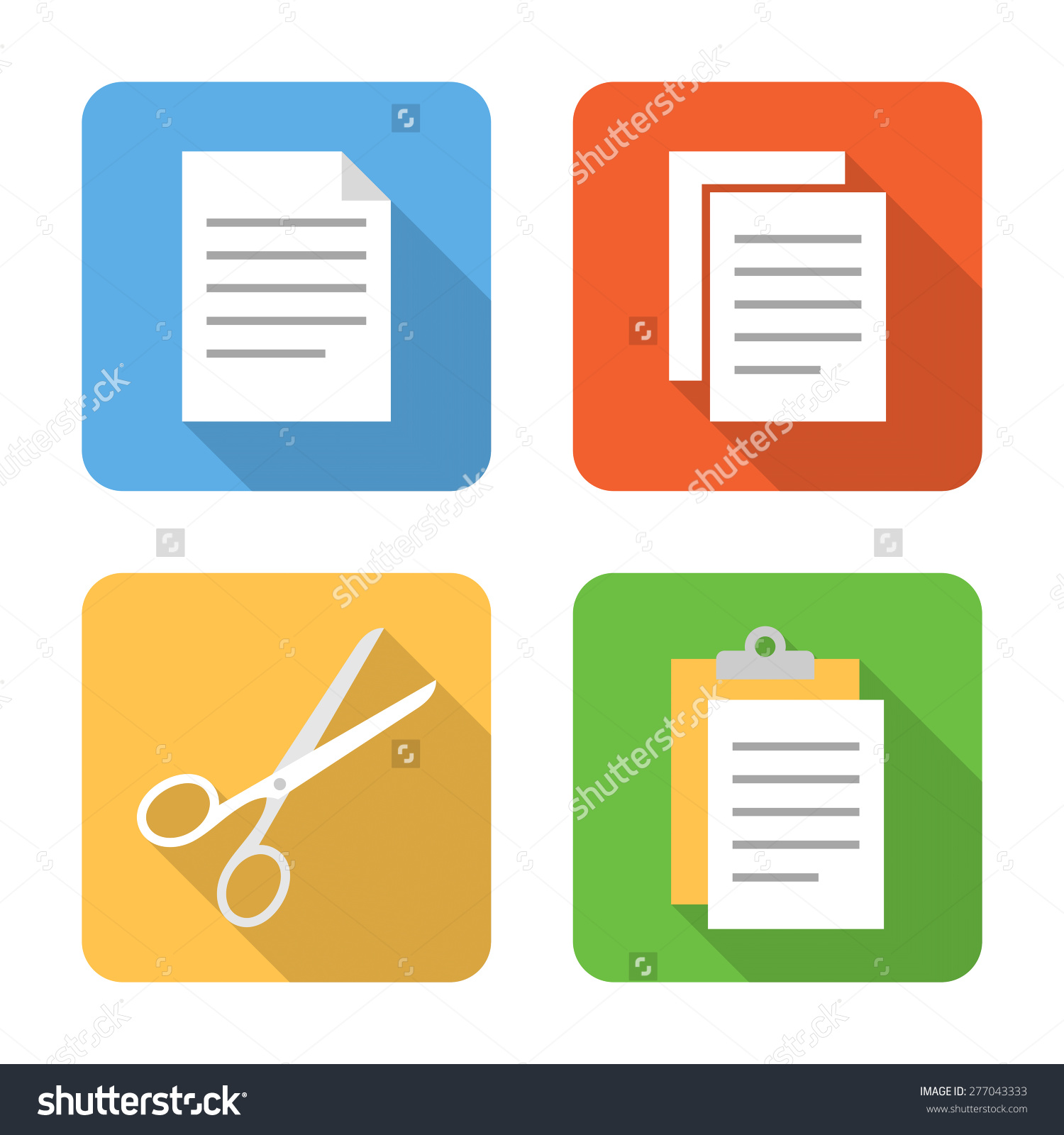 Flat Copy Cut Paste Icons Long Stock Vector 277043333.