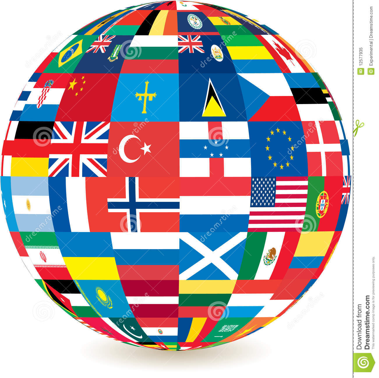 Globe Of World Countries' Flags Royalty Free Stock Photo.