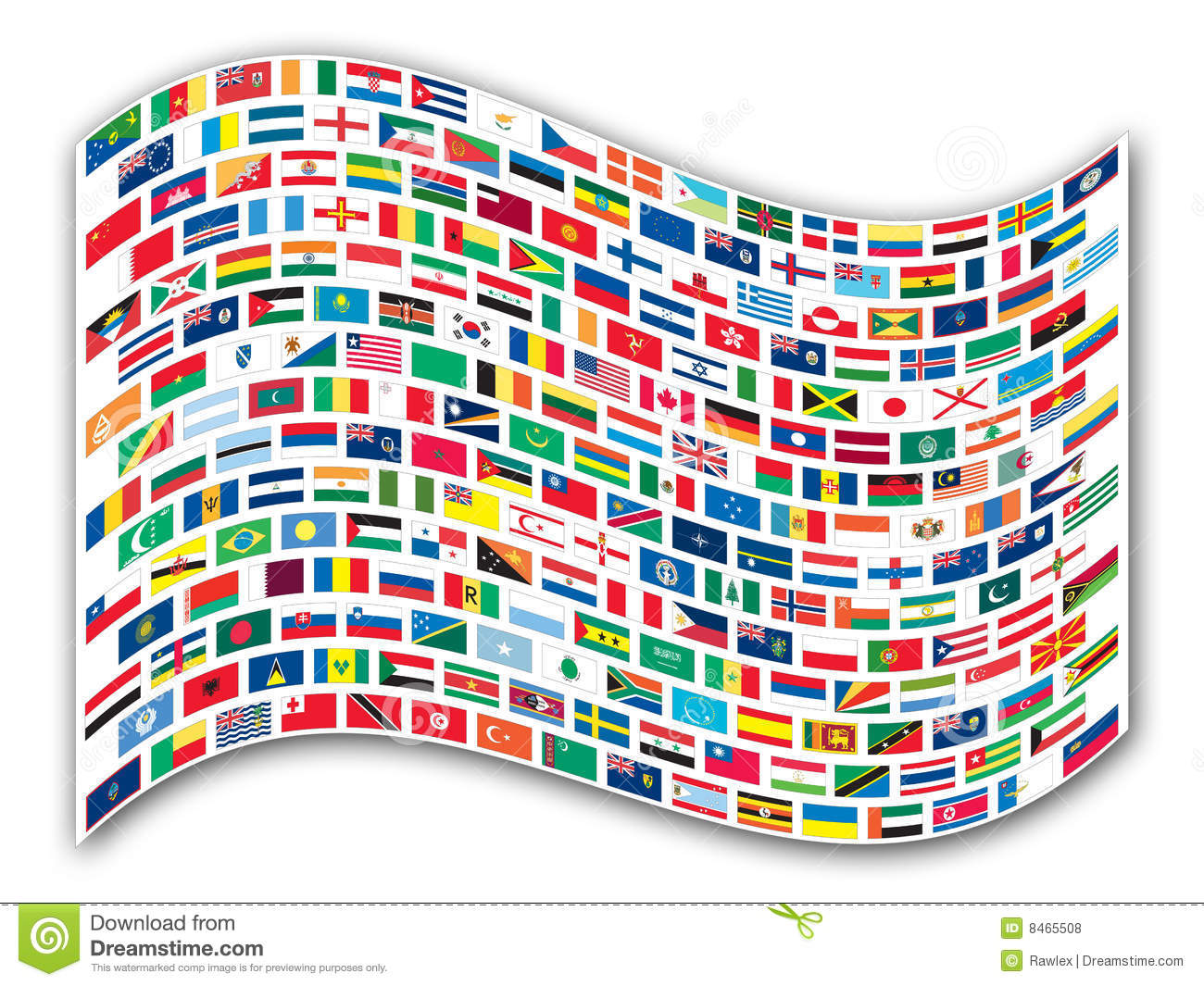 Wavy Flags Of The World Royalty Free Stock Photos.