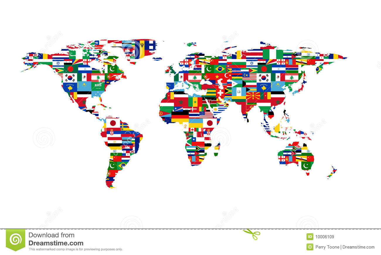 World Flag Map Royalty Free Stock Images.