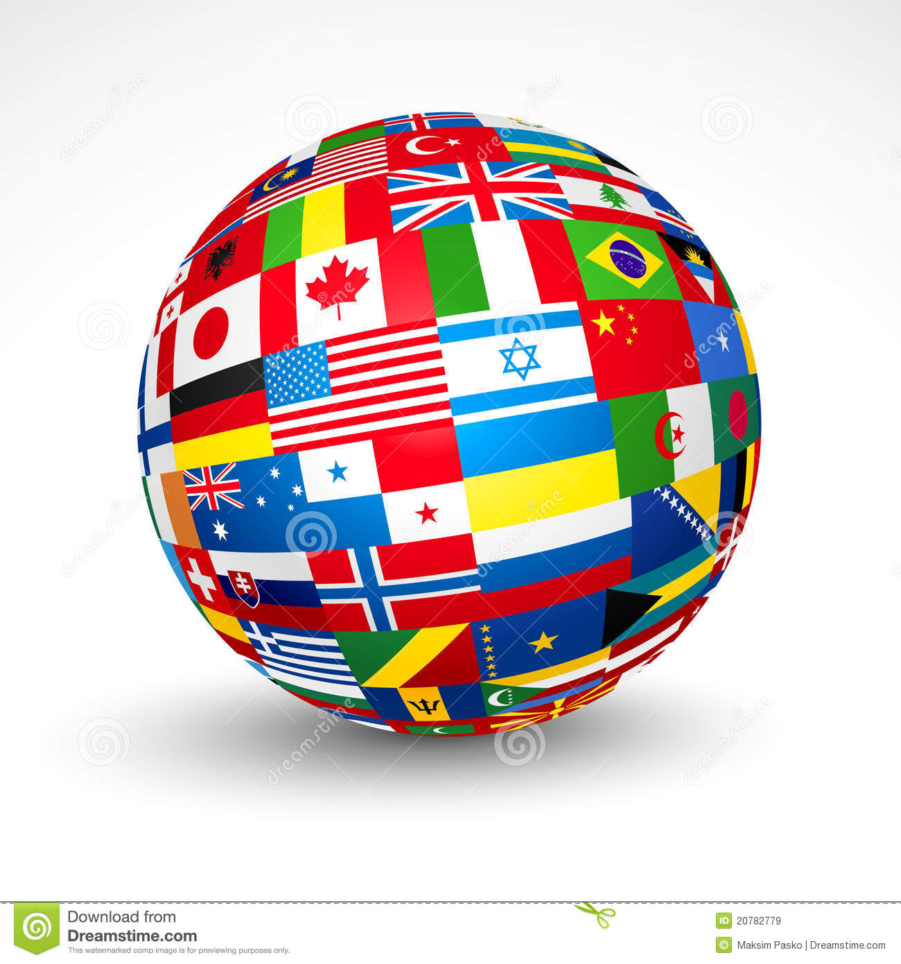 World Flags Sphere. Royalty Free Stock Images.