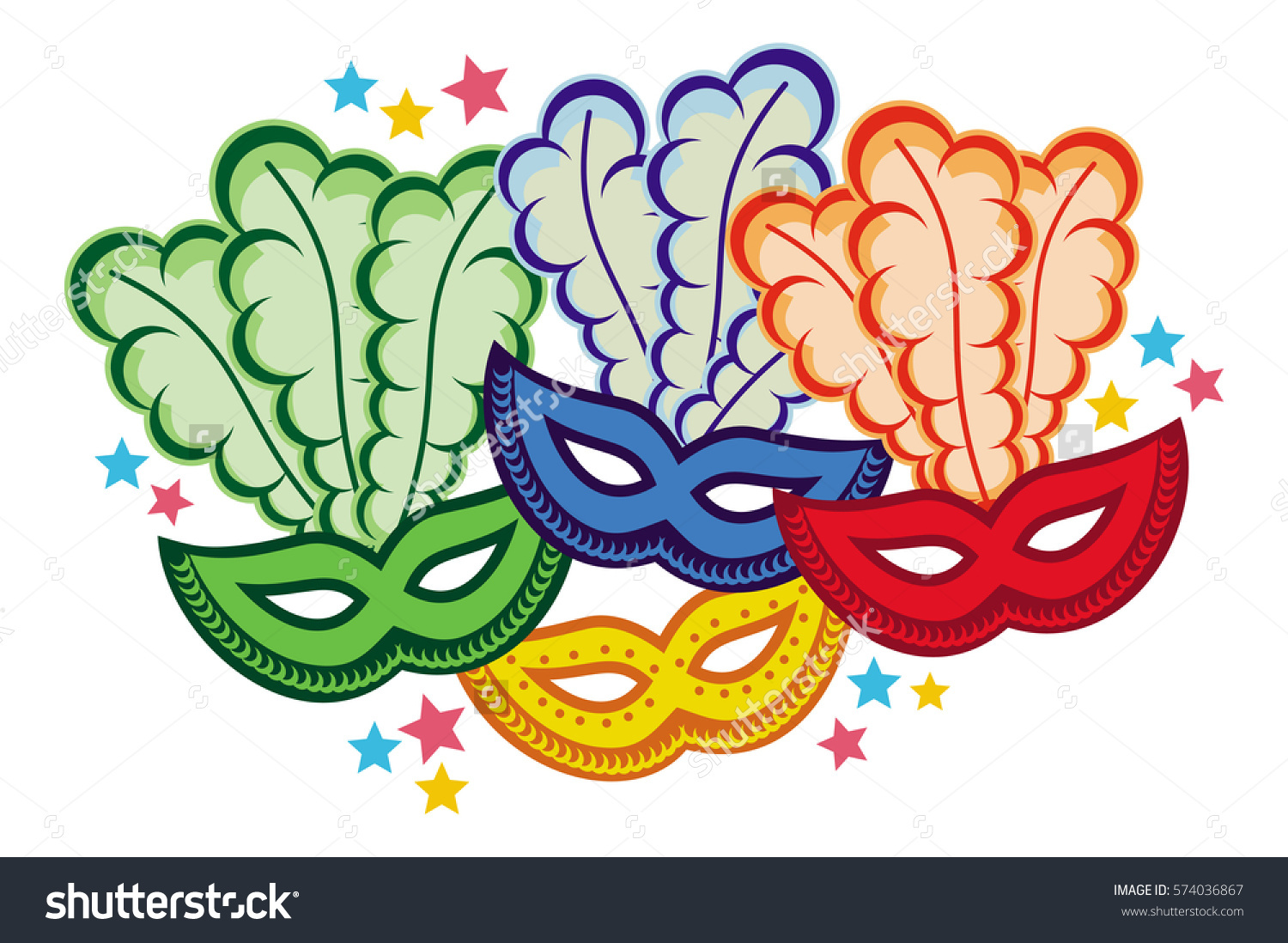Color Carnival Masks Copy Space Vector Stock Vector 574036867.