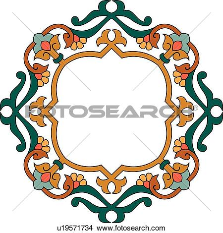 Clipart of Brown floral frame with copy space u19571734.