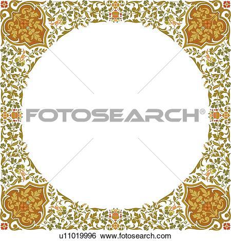 Clip Art of Copy space fancy leaf frame u11019996.