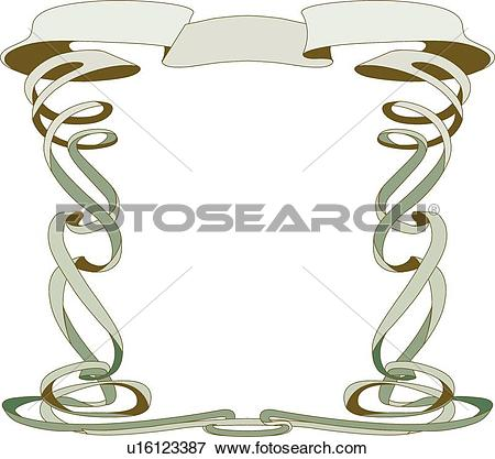 Clip Art of Green and brown frame with copy space u16123387.