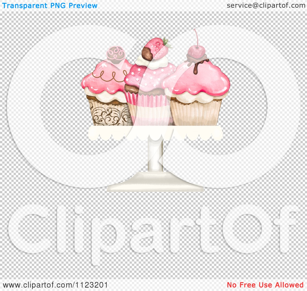 Clipart Of Three Cupcakes On A Plate With Copyspace.
