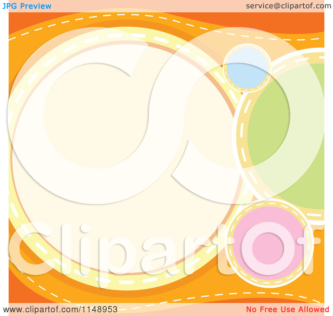 Clipart of Colorful Circles on an Orange Background with Copyspace.