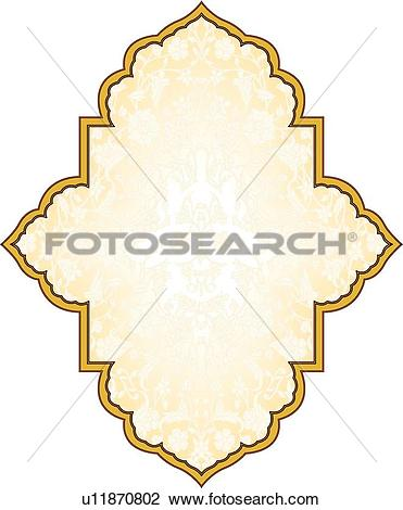 Clipart of Gold fancy frame with copy space u11870802.