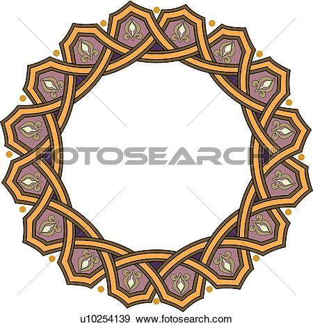 Clip Art of Gold purple circle frame with copy space u10254139.
