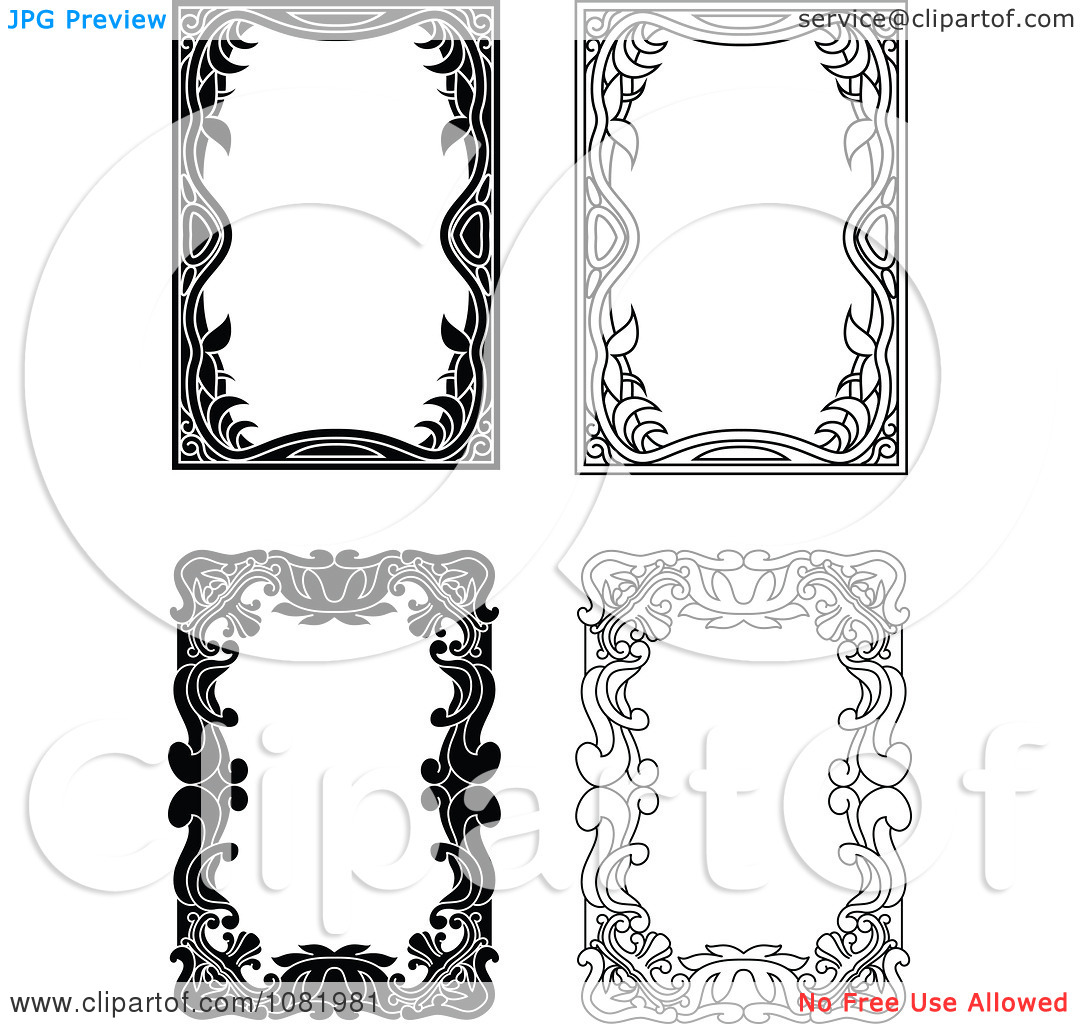 Clipart Four Black And White Frame Borders With Copyspace 4.