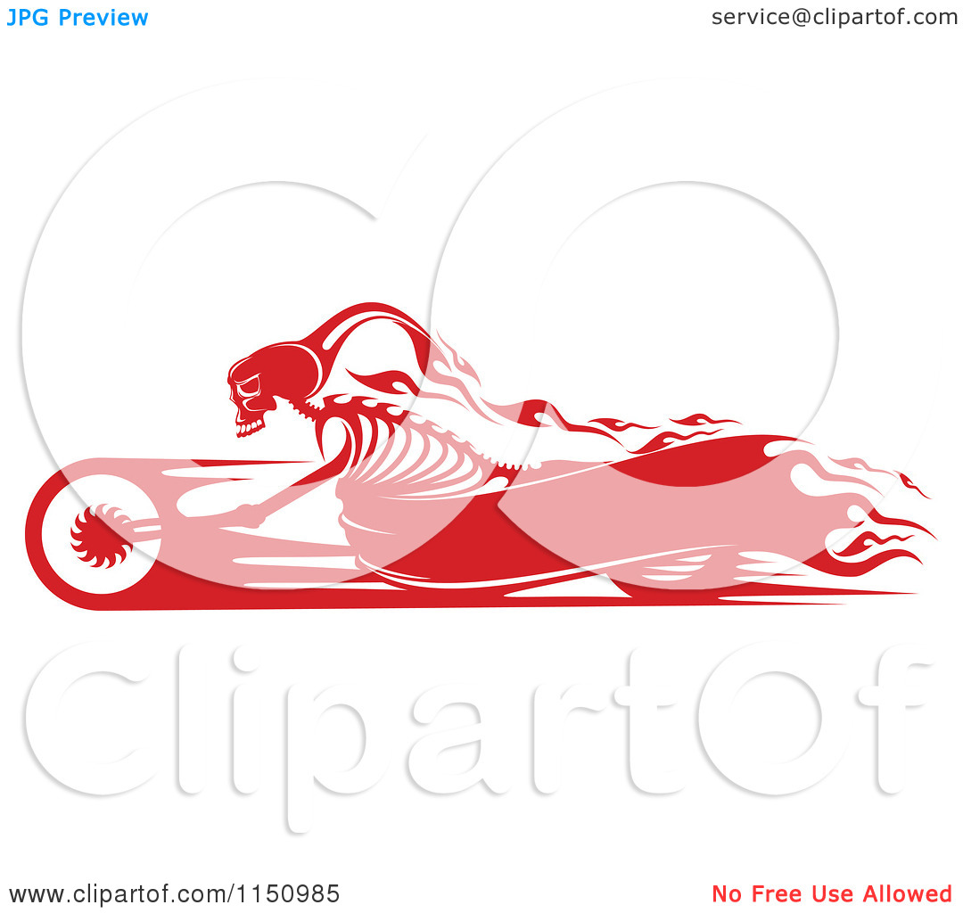 Clipart of a Red Flaming Skeleton Biker on a Motorcycle with.