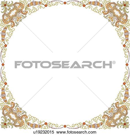 Clipart of Copy space fancy circle frame u19232015.
