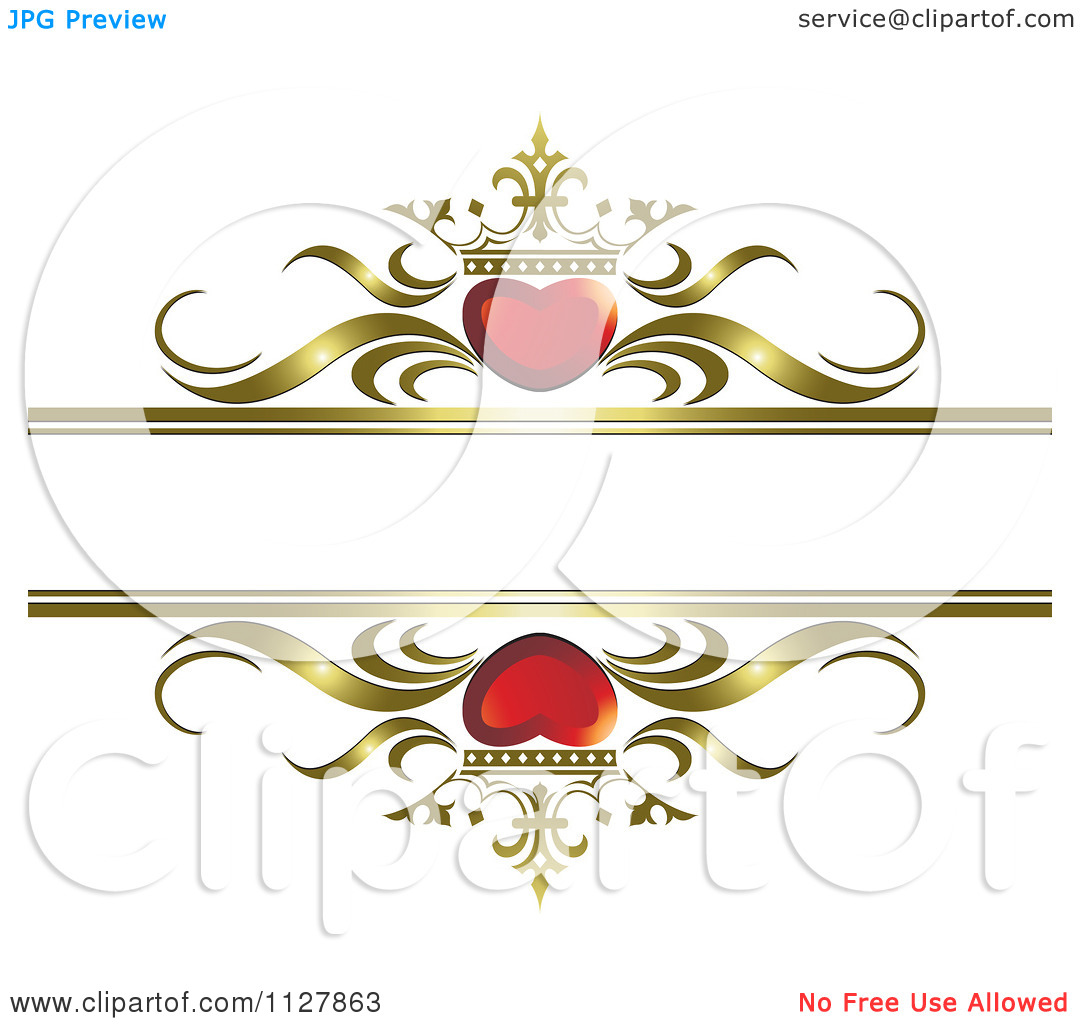 Clipart Of Red Crowned Hearts And Gold Waves With Copyspace 1.