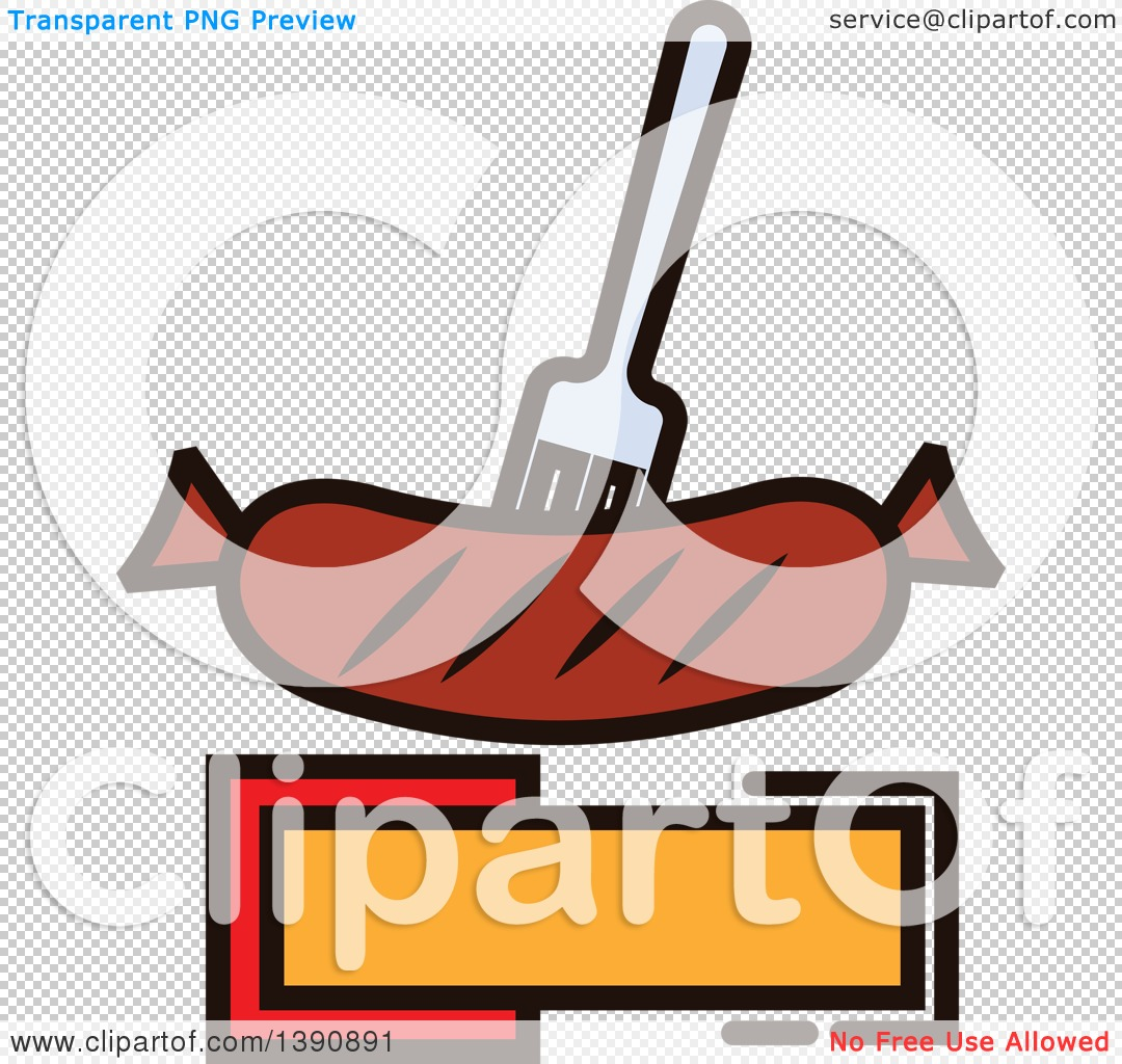 Clipart of a Fork in a Sausage over Copy Space.