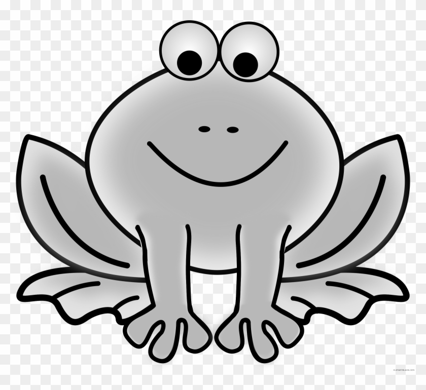 Grayscale Frog Animal Free Black White Clipart Images.
