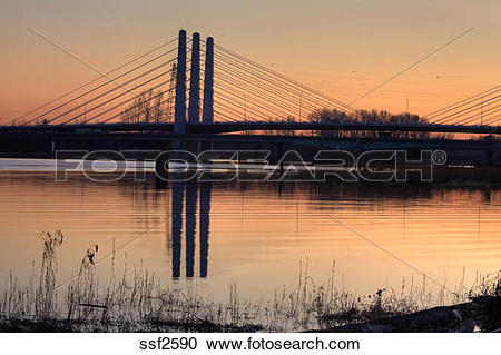 Stock Photography of New Pitt River bridge at sunset, Port.