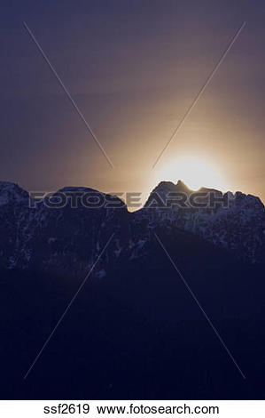 Stock Photograph of Moonrise over Mount Blanshard, Port Coquitlam.