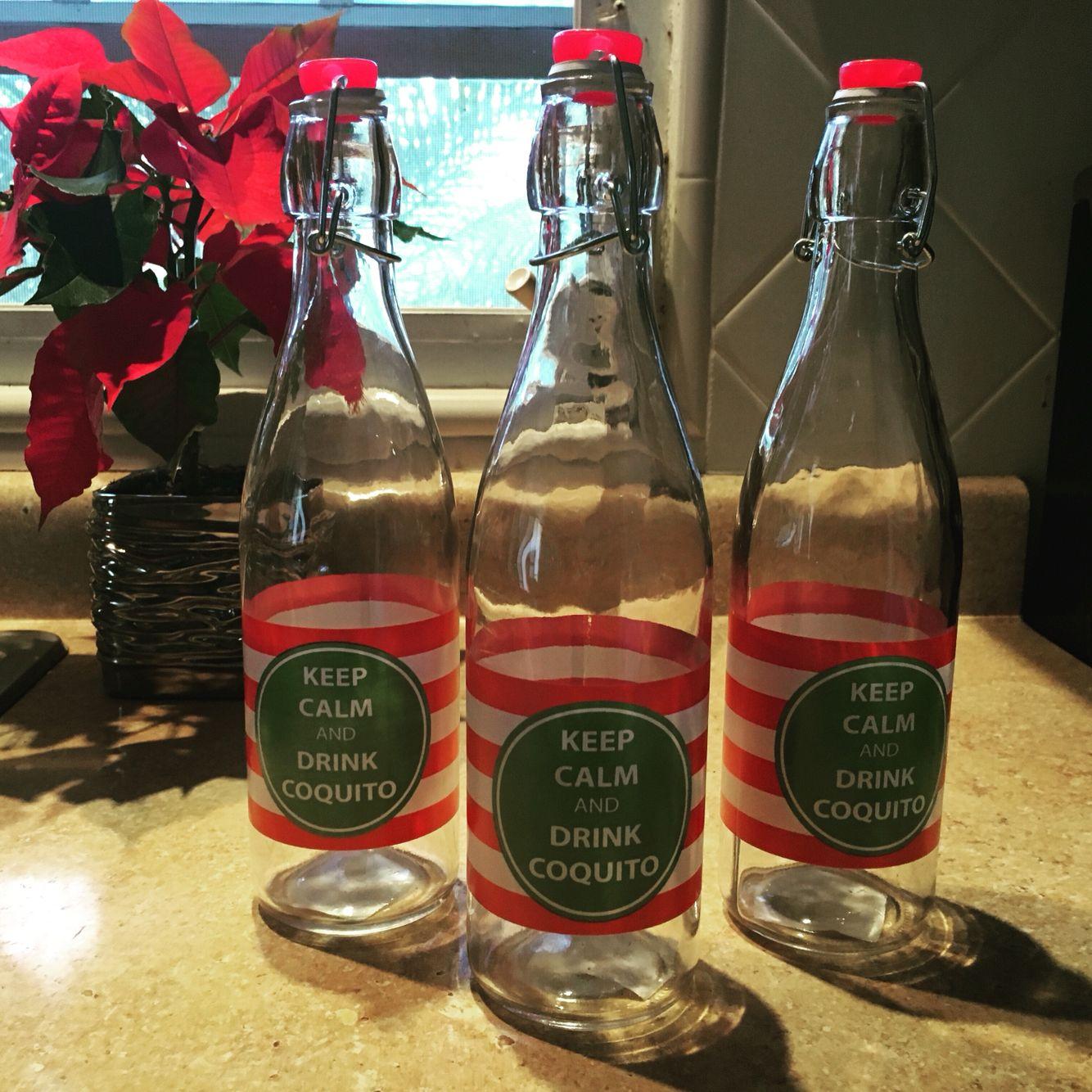 Coquito bottles.