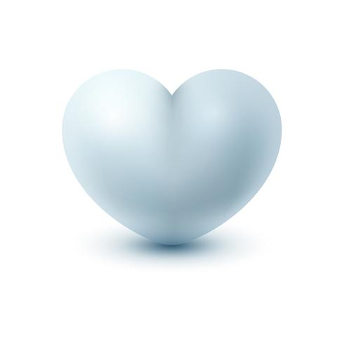 White realistic icon heart on the light background.