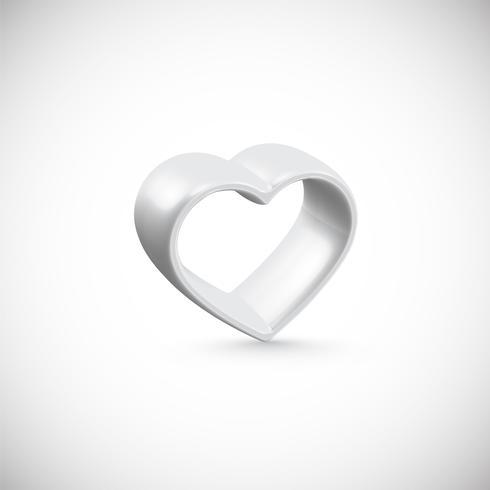 Moldura de coração branco 3D, ilustração vetorial.