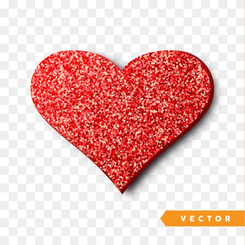 Coração vermelho brilha.