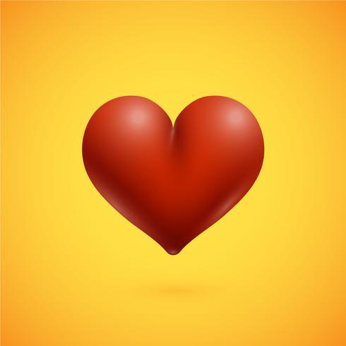 Coração vermelho alta detalhado, ilustração vetorial.