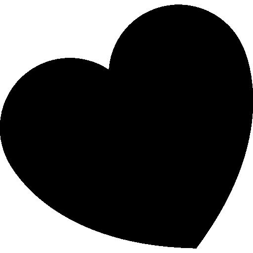 símbolo de coração preto girado para a esquerda.