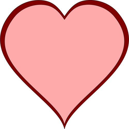 Pink heart with red thick line border vector image.