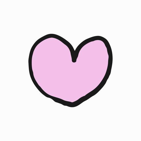 Mão desenhada ilustração coração rosa.