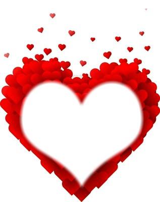 Photo montage coração vermelho.