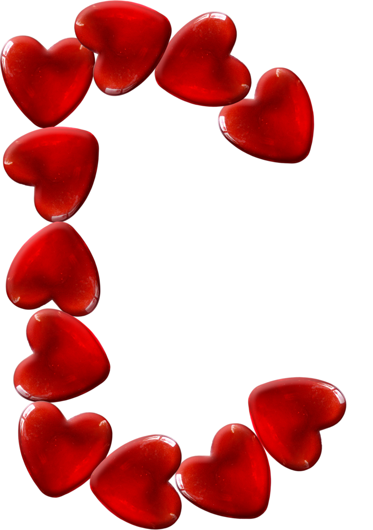Blindada por Deus: Alfabeto Corações vermelho png.