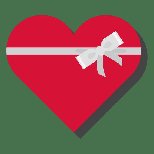 Caixa de presente de coração vermelho prata arco ícone 26.